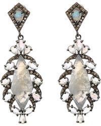 Bavna - Silver Kite Drop Earrings With Diamonds & Rainbow Moonstone - Lyst