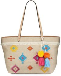 Neiman Marcus Luca Embroidered Canvas Tote Bag - Multicolor