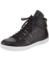 Giorgio Armani - Smooth And Textured Leather Sneaker - Lyst