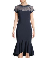 Maggy London - Midi Illusion Flounce Dress - Lyst