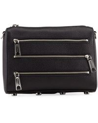 Rebecca Minkoff Mini 5-zip Pebbled Leather Crossbody Bag - Black