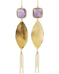 Devon Leigh   Square Crystal Dangle Earrings   Lyst
