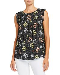 Philosophy Sleeveless Floral Ruffle Top - Black