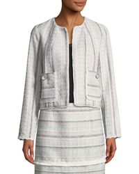Laundry by Shelli Segal - Striped Tweed Topper Jacket - Lyst