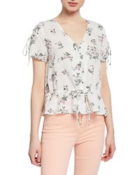 62f29f3f5cf Moon River - Floral-print Button-down Tie-sleeve Top - Lyst