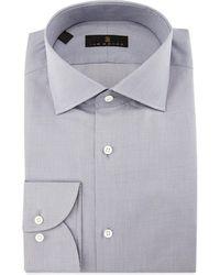 Ike Behar Gold Label Milano Mini-houndstooth Dress Shirt Gray