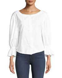 MILLY - Nickie Shirting Cotton Top - Lyst