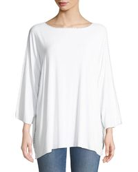 Made on Grand Cross Applique Boat-neck Batwing Jersey Tunic - White