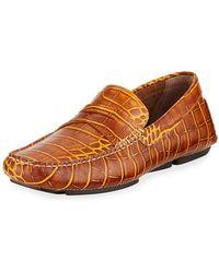 4f289cf6c0e Lyst - Martin Dingman Taylor Crocodile-Embossed Loafer in Blue for Men