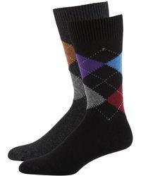 Punto - Men's Argyle-knit Socks 2-pack Black/gray - Lyst