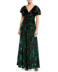 592cf07483 Marchesa notte Embroidered Velvet Illusion Column Gown in Green - Lyst