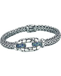 John Hardy Kali Sterling Silver Bangle Bracelet With Blue Topaz And Iolite - Metallic