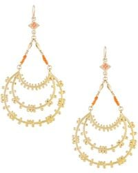 Devon Leigh - Tiered Hoop Drop Earrings With Coral Beads - Lyst
