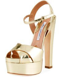 Brian Atwood - Madison Metallic Leather Platform Sandals - Lyst