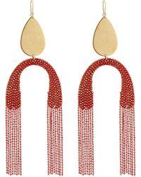 Serefina - Upside Down Fringe Earrings Red - Lyst