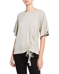 EVIDNT Ruched Side-tie Knit Top - Natural