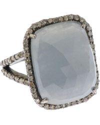 Bavna Silver Square Ring With Multicolour Sapphire & Diamonds Size 6 - Metallic