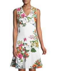 Donna Ricco - Floral V-neck Fit-and-flare Dress - Lyst