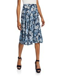 Michael Kors Silk Floral Pleated Dance Skirt - Blue