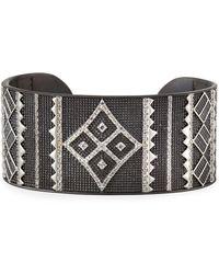 Freida Rothman - Contemporary Deco Cuff Bangle Black - Lyst