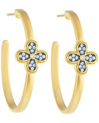 Freida Rothman | Crystal Clover Hoop Earrings | Lyst