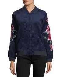 Goldie London - Bagley Embroidered Velvet Bomber Jacket - Lyst