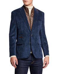 English Laundry Men's Micro Corduroy Sport Coat W/ Zip-out Bib - Blue