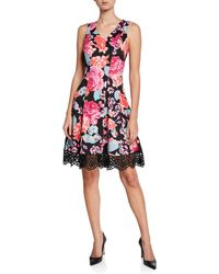 Donna Ricco Floral-print Stretch Fit-and-flare Dress - Red