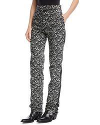 CALVIN KLEIN 205W39NYC Daisy-print High-waist Straight-leg Pants - Black