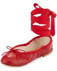 Ballet Beautiful - Street Ballet Leather Ankle-wrap Flats - Lyst