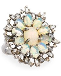 Bavna - Silver Ring With Opal & Diamonds - Lyst