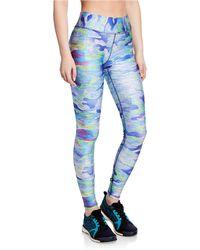Terez High-rise Camo-print Performance Leggings - Blue