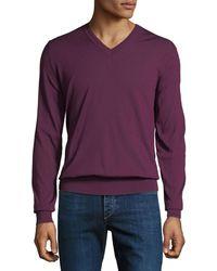 Brioni - Men's Long-sleeve V-neck Wool Sweater - Lyst