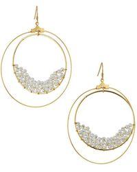 Panacea - Crystal Beaded Double Hoop-drop Earrings - Lyst