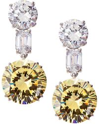 Fantasia by Deserio - Mixed-cut Two-tone Cz Drop Earrings - Lyst