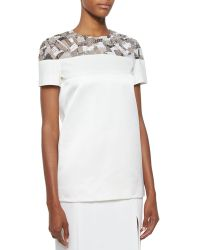 J. Mendel - Short-sleeve Embroidered Scuba Tee - Lyst