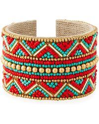 Nakamol - Wide Beaded Cuff Bracelet - Lyst