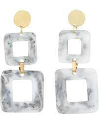 Panacea Resin Double-square Earrings - Metallic