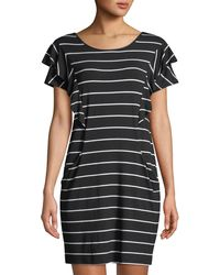 Neiman Marcus - Crewneck Ruffle-detail Short-sleeve Striped Jersey Dress - Lyst