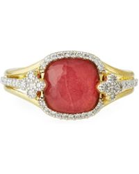 Jude Frances - 18k Provence Triplet Cushion & Diamond Ring - Lyst