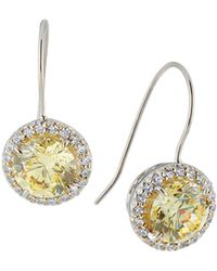 Fantasia by Deserio - Canary Cubic Zirconia Drop Earrings - Lyst