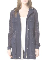 Michael Kors Perforated Suede Anorak - Blue