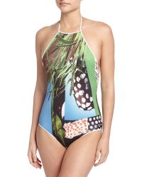 Clover Canyon Harvest Ritual Halter One-piece Swimsuit - Multicolour