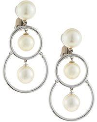 Assael - 18k Akoya & South Sea Pearl Double-hoop Drop Earrings - Lyst