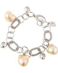 Assael - 18k Golden Freshwater Pearl & Moonstone Charm Bracelet - Lyst