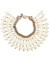 Lydell NYC - Golden Double-strand Pearly Fringe Bracelet - Lyst