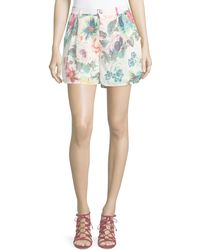 Bishop + Young - Pleated Floral Flowy Shorts - Lyst