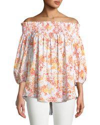 Caroline Constas Lou Off-the-shoulder Floral-print Cotton Top - Orange