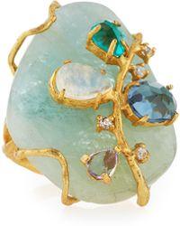 Indulgems - Golden Aquamarine Gemstone Cluster Cocktail Ring - Lyst
