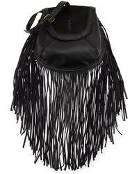 Isabella Fiore Jackson Calf-hair Fringe Crossbody Bag - Black